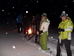 Schneeschuhe, Schnee, Winter, Team, Nacht