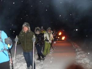 Schwarzwald, Schneeschuhe, Schnee, Winter, Team, Nacht