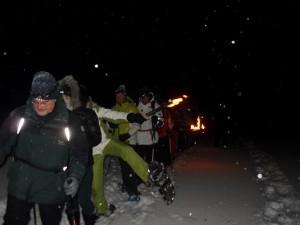 Schneeschuhe, Schnee, Schwarzwald, Winter, Team, Nacht